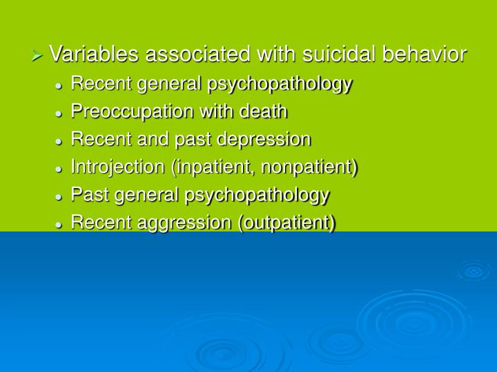 Variables associated with suicidal behavior