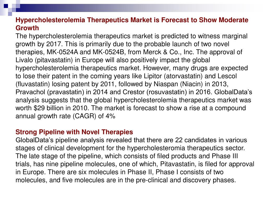 Hypercholesterolemia Therapeutics Market is Forecast to Show Moderate