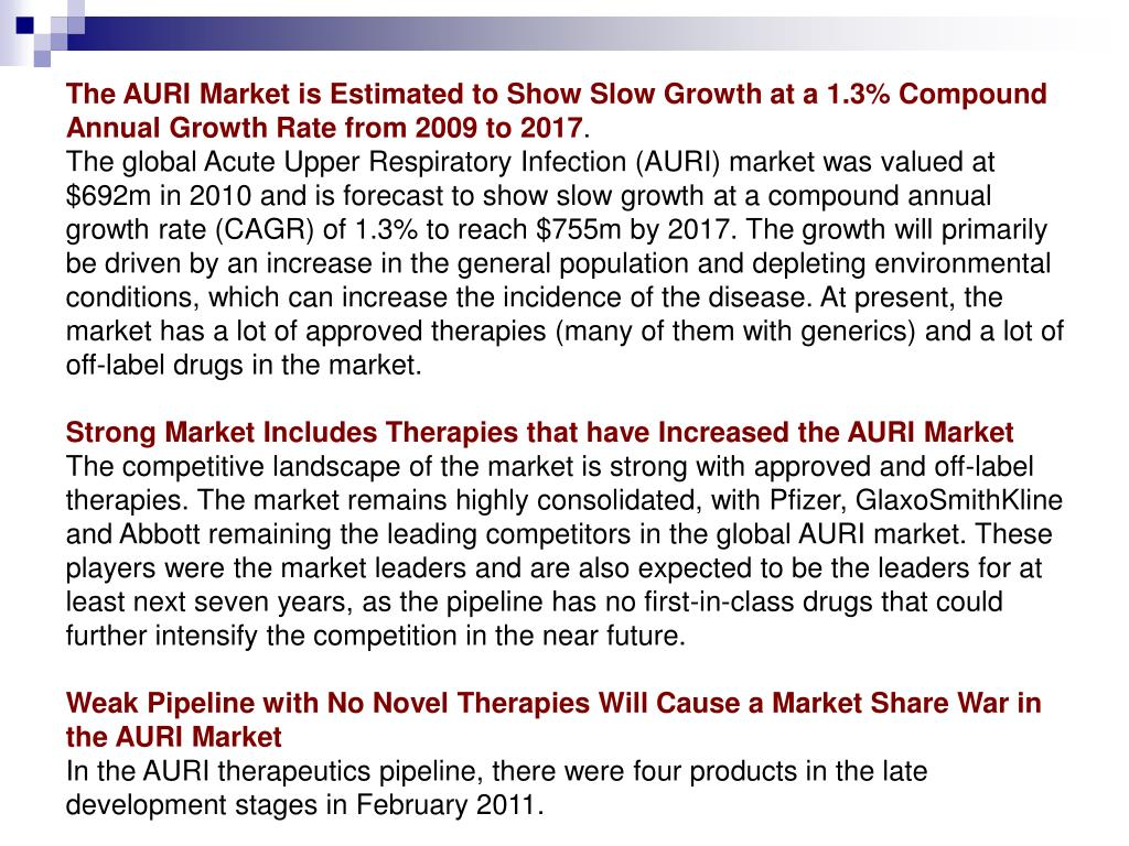 The AURI Market is Estimated to Show Slow Growth at a 1.3% Compound