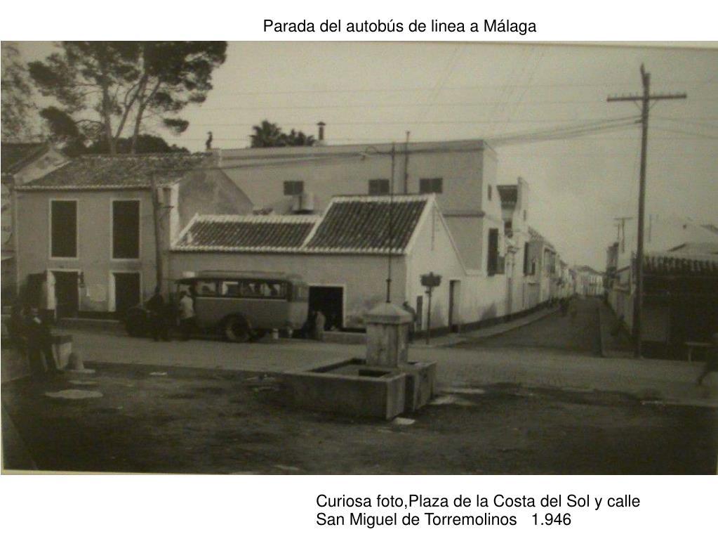 Parada del autobús de linea a Málaga