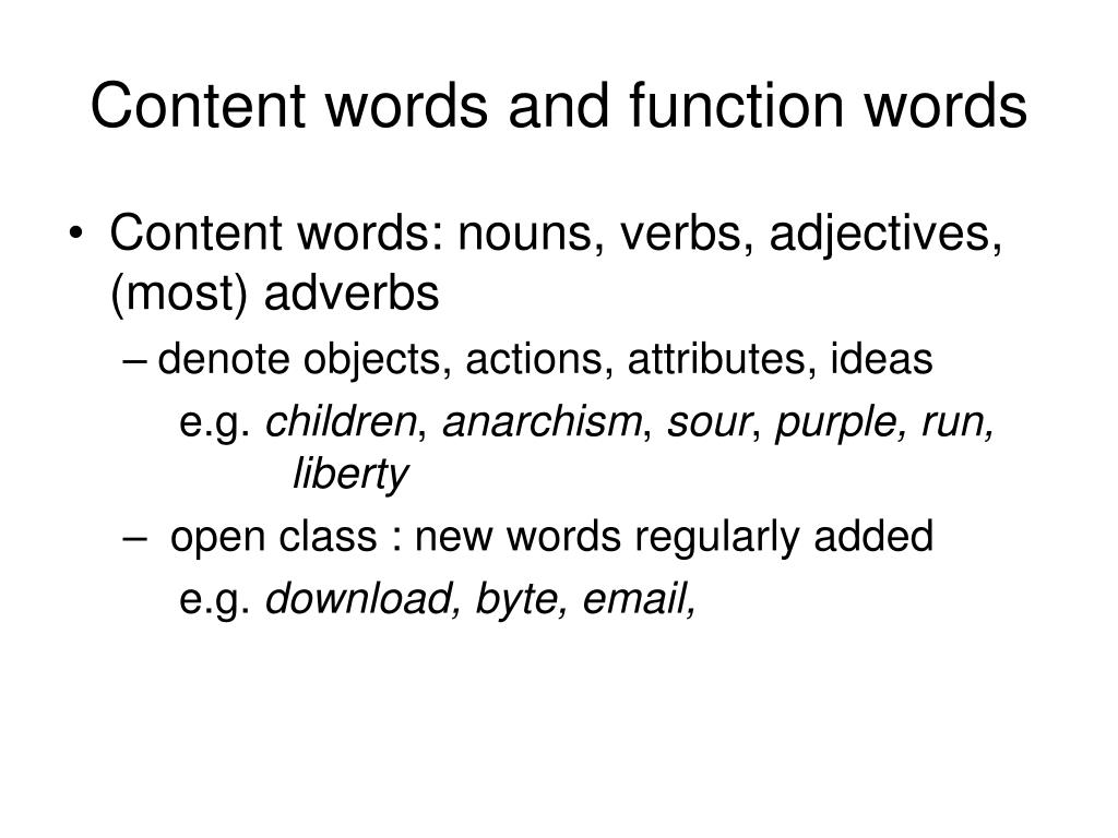 ppt content words and function words powerpoint presentation id