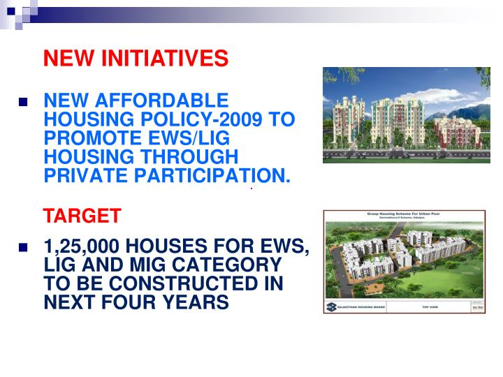 NEW AFFORDABLE HOUSING POLICY-2009 TO PROMOTE EWS/LIG HOUSING THROUGH PRIVATE PARTICIPATION.