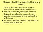 mapping checklist to judge the quality of a mapping