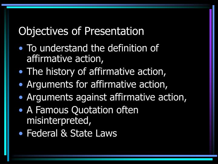 objectives of affirmative action