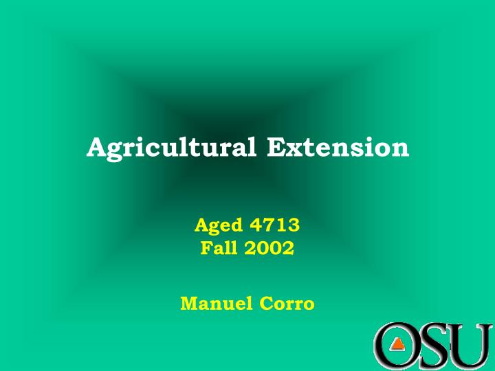 agricultural extension n.