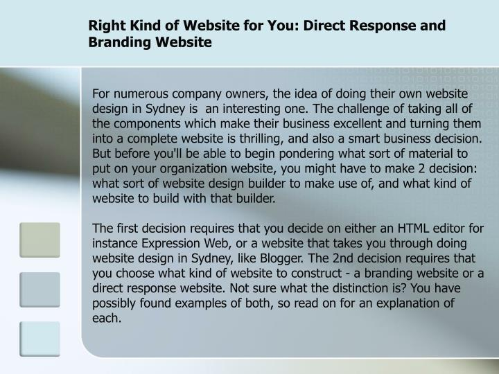 Right kind of website for you direct response and branding website2
