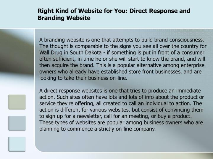 Right kind of website for you direct response and branding website3