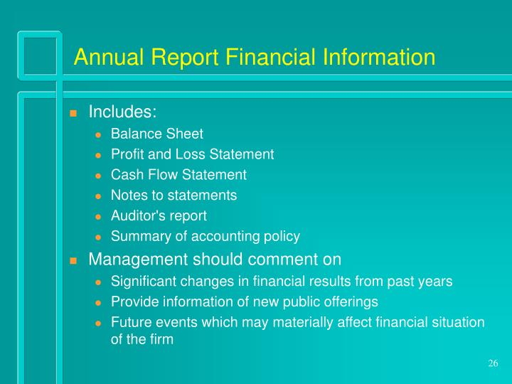 Annual Report Financial Information