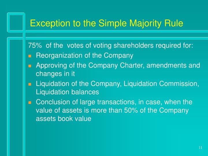 Exception to the Simple Majority Rule