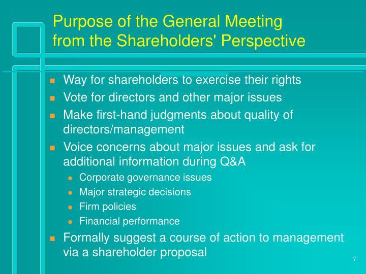 Purpose of the General Meeting