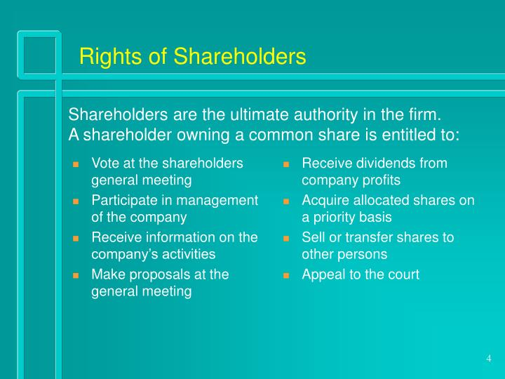 Vote at the shareholders general meeting