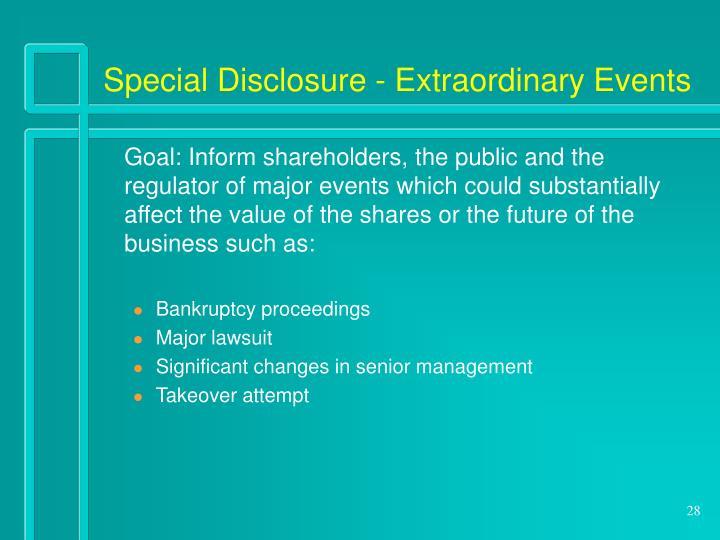 Special Disclosure - Extraordinary Events
