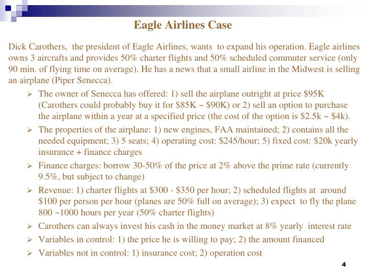 eagle airlines a case study Case summary in march 1998, the dallas district office of the eeoc brought this suit against amr eagle, inc, american airlines, inc, and related businesses in the us district court for the northern district of texas.