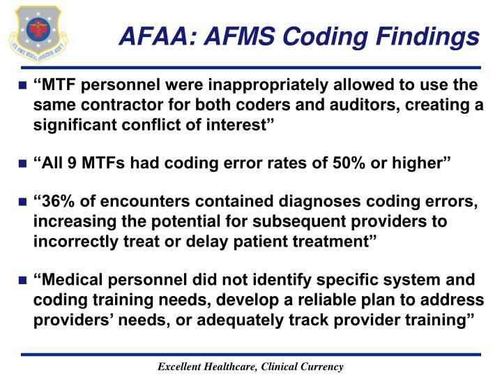 AFAA: AFMS Coding Findings