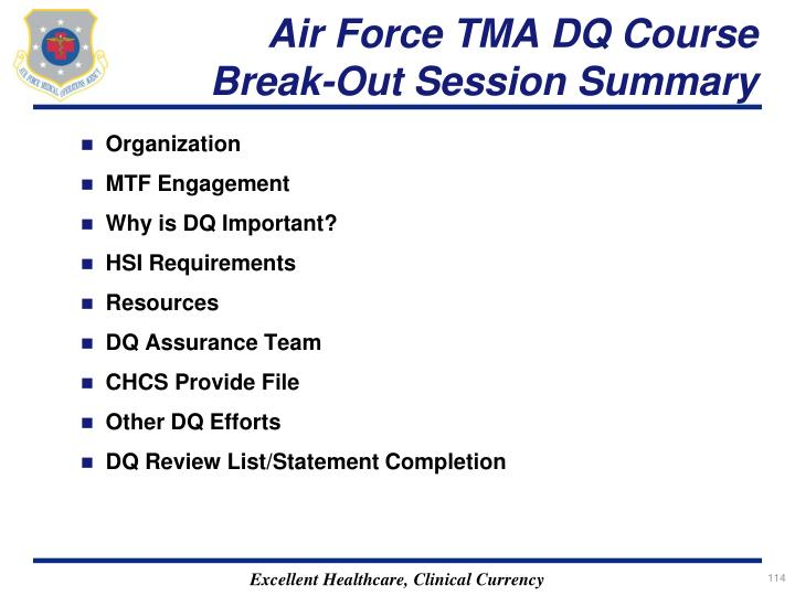 Air Force TMA DQ Course Break-Out Session Summary