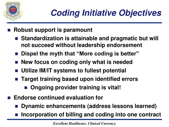Coding Initiative Objectives