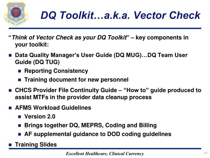 DQ Toolkit…a.k.a. Vector Check