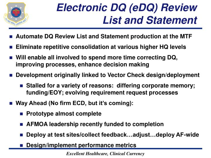 Electronic DQ (eDQ) Review List and Statement