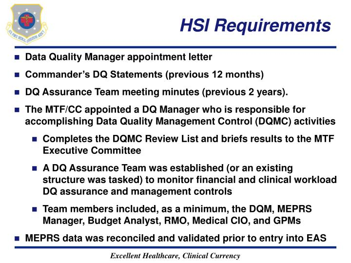HSI Requirements