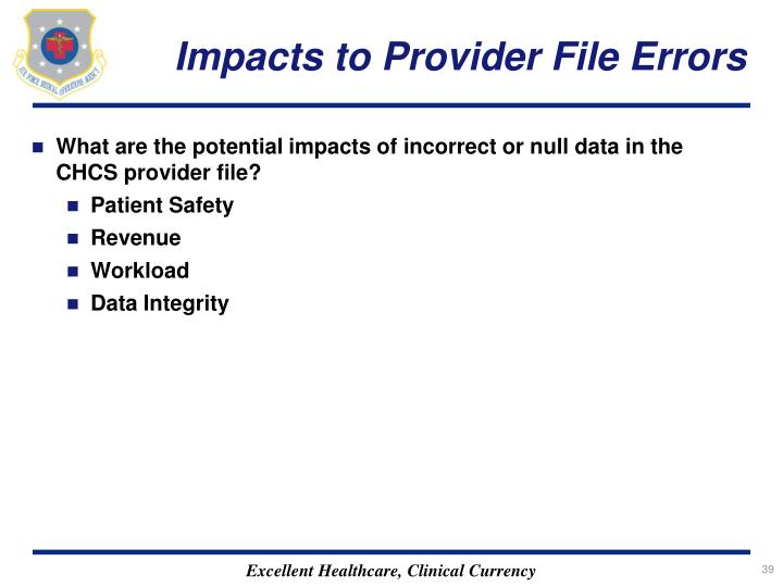 Impacts to Provider File Errors