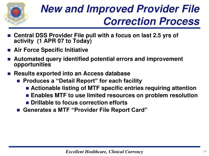New and Improved Provider File Correction Process