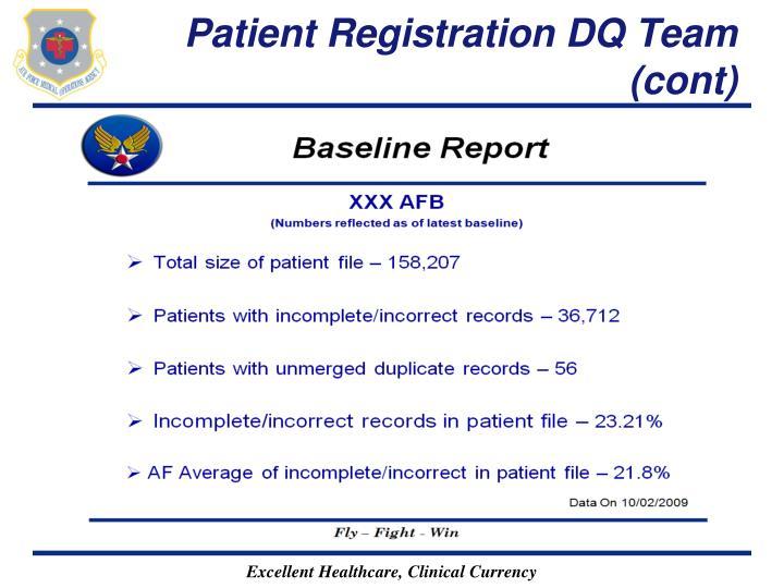 Patient Registration DQ Team (cont)