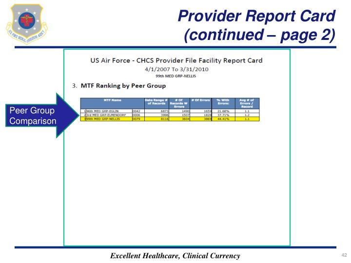 Provider Report Card