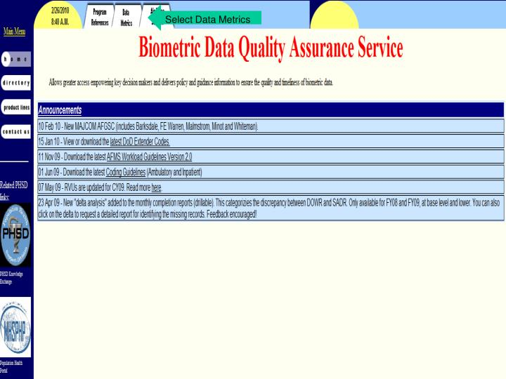 Select Data Metrics
