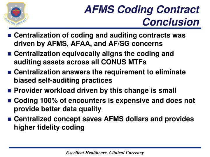 AFMS Coding Contract Conclusion