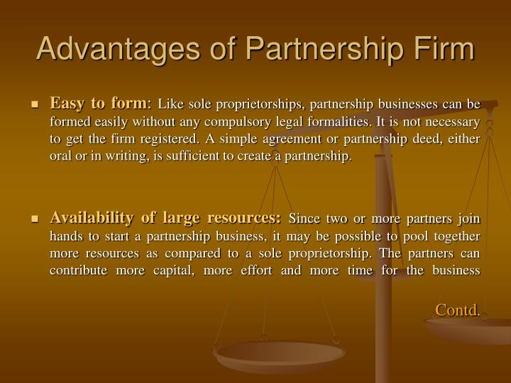benefits of partnership firm