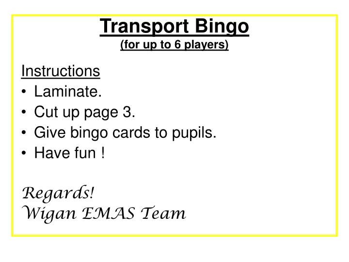 transport bingo for up to 6 players n.