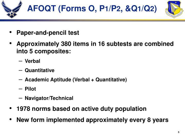 AFOQT (Forms O, P