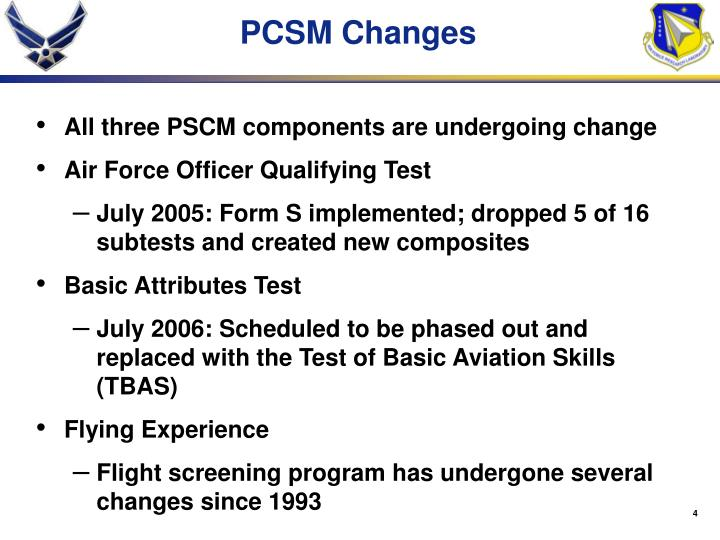 PCSM Changes