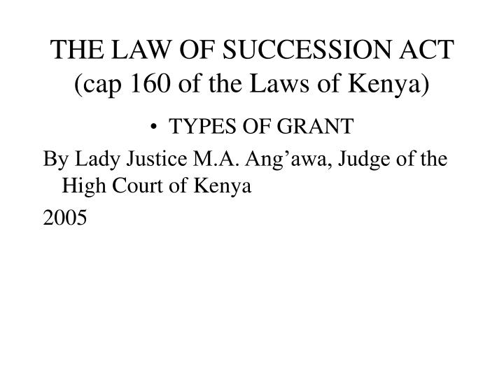 the law of succession act cap 160 of the laws of kenya n.