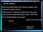 impact assessment should recognize price effects