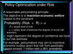 policy optimization under risk