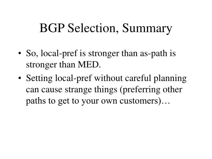 BGP Selection, Summary