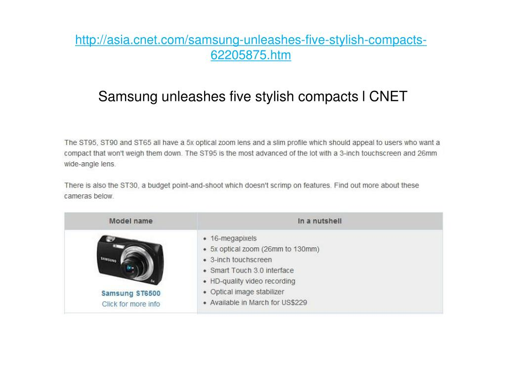 http asia cnet com samsung unleashes five stylish compacts 62205875 htm