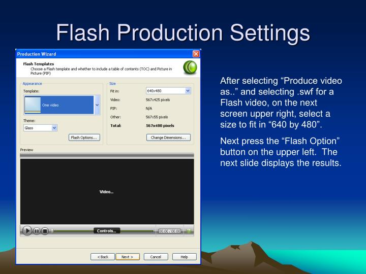 Flash Production Settings
