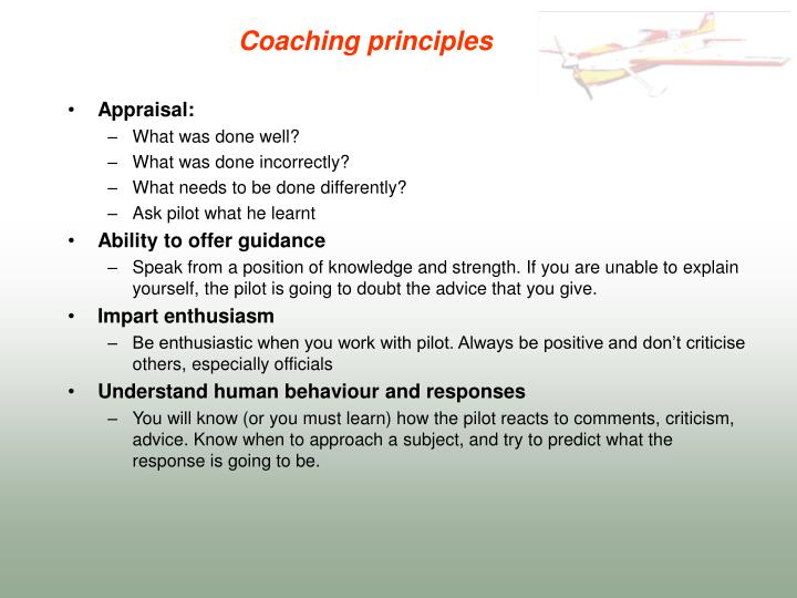 coaching principles upload essay Open document below is an essay on understanding the skills, principles and practice of effective management coaching and mentoring from anti essays, your source for research papers, essays, and term paper examples.