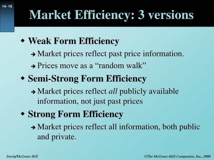 Market Efficiency: 3 versions