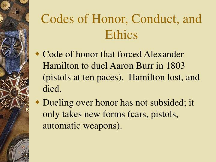 Codes of Honor, Conduct, and Ethics