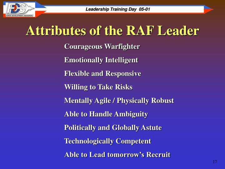 Attributes of the RAF Leader