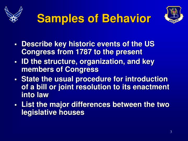 Samples of behavior