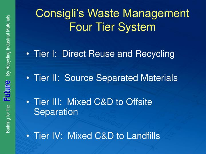Consigli's Waste Management Four Tier System