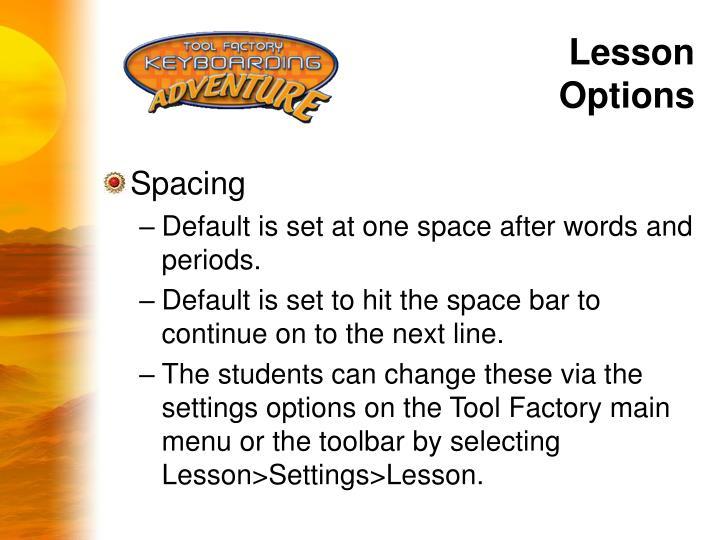 Lesson Options