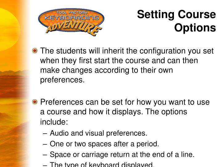 Setting Course Options