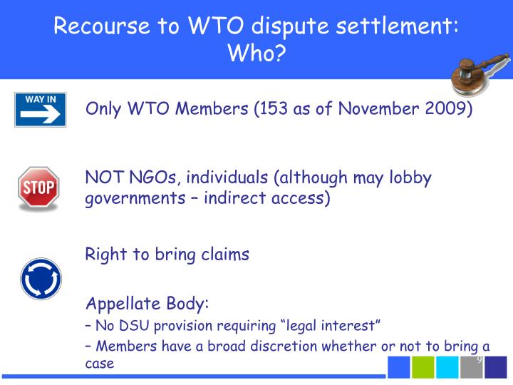 Recourse to WTO dispute settlement: Who?