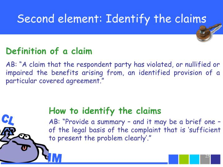 Second element: Identify the claims