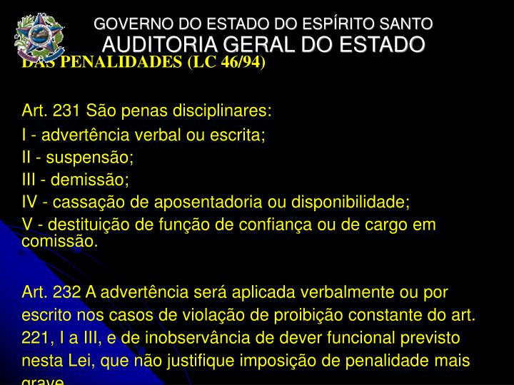 DAS PENALIDADES (LC 46/94)